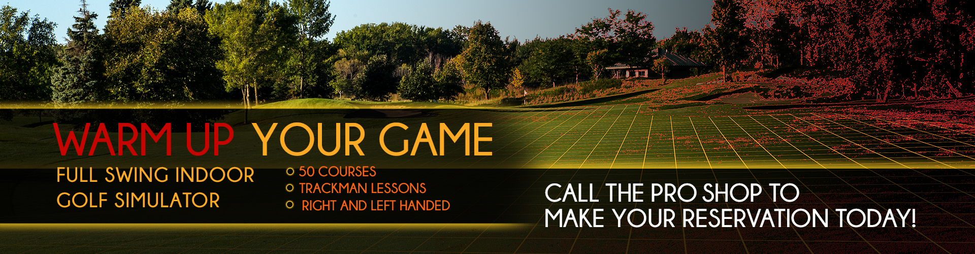 Full swing indoor golf simulator - call the pro shop to make your reservation today!